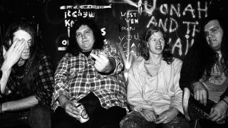 Screaming Trees (including Mark Lanegan on left), backstage at the Fulham Greyhound in London, United Kingdom, 1989.