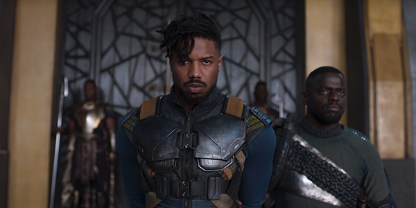 Michael B. Jordan's Erik Killmonger entering the Wakandan Throne Room