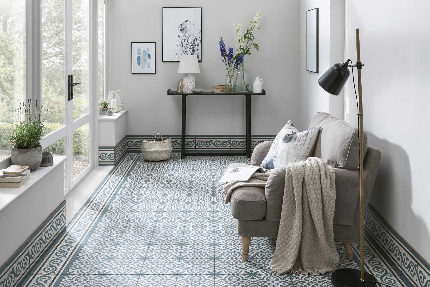 The best modern encaustic tiles on everyones wishlist in 2018 berkeley slate blue tile 999 per tile from topps tiles dailygadgetfo Images