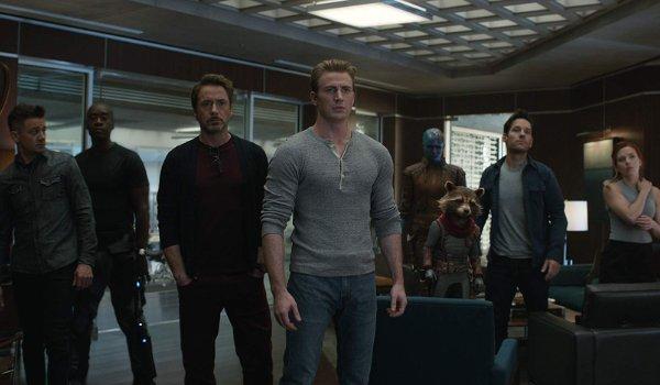 Avengers: Endgame office scene where several Avengers are lined up