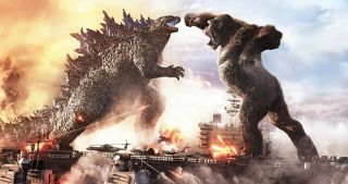Godzilla and Kong face off in an epic battle.