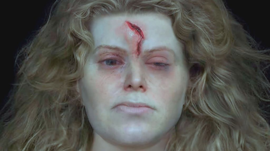 This facial reconstruction of a Viking woman's skull shows a deep head wound, possibly sustained during battle.