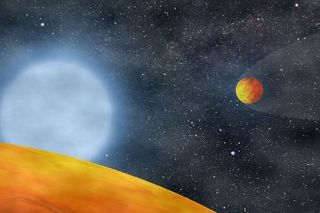 An artist's view of the two Earth-size planets orbiting a star at the end of the star's evolution.