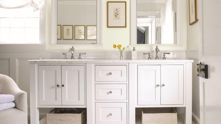Bathroom ideas that add value - Bathroom with double sink vanity in Benjamin Moore Paper White