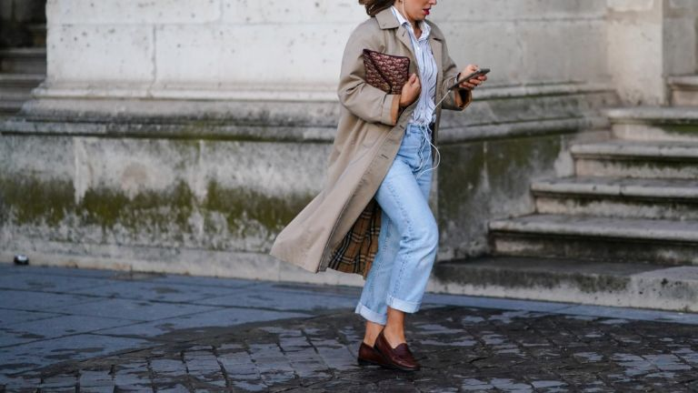 Burberry Trench: woman wearing trench coat
