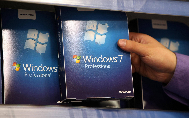 Windows 7 boxes on a shelf