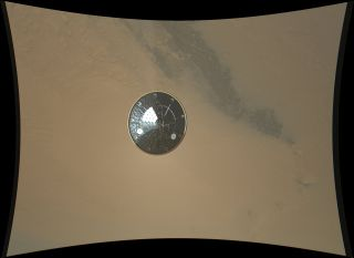Mars rover Curiosity heat shield high-resolution landing photo.