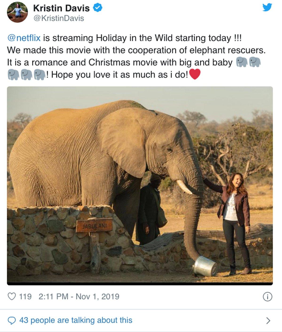 Kristin Davis elephant work on Twitter