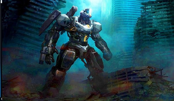 The Archangel mech in a destroyed city