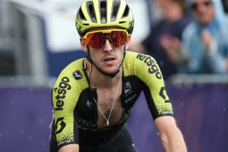 The rain starts to fall as Simon Yates (Mitchelton-Scott) finishes stage 2 of the 2020 Herald Sun Tour at Falls Creek almost six minutes down on the day's winner