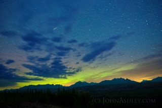 Orionid Meteor, Aurora, Big Dipper by Ashley