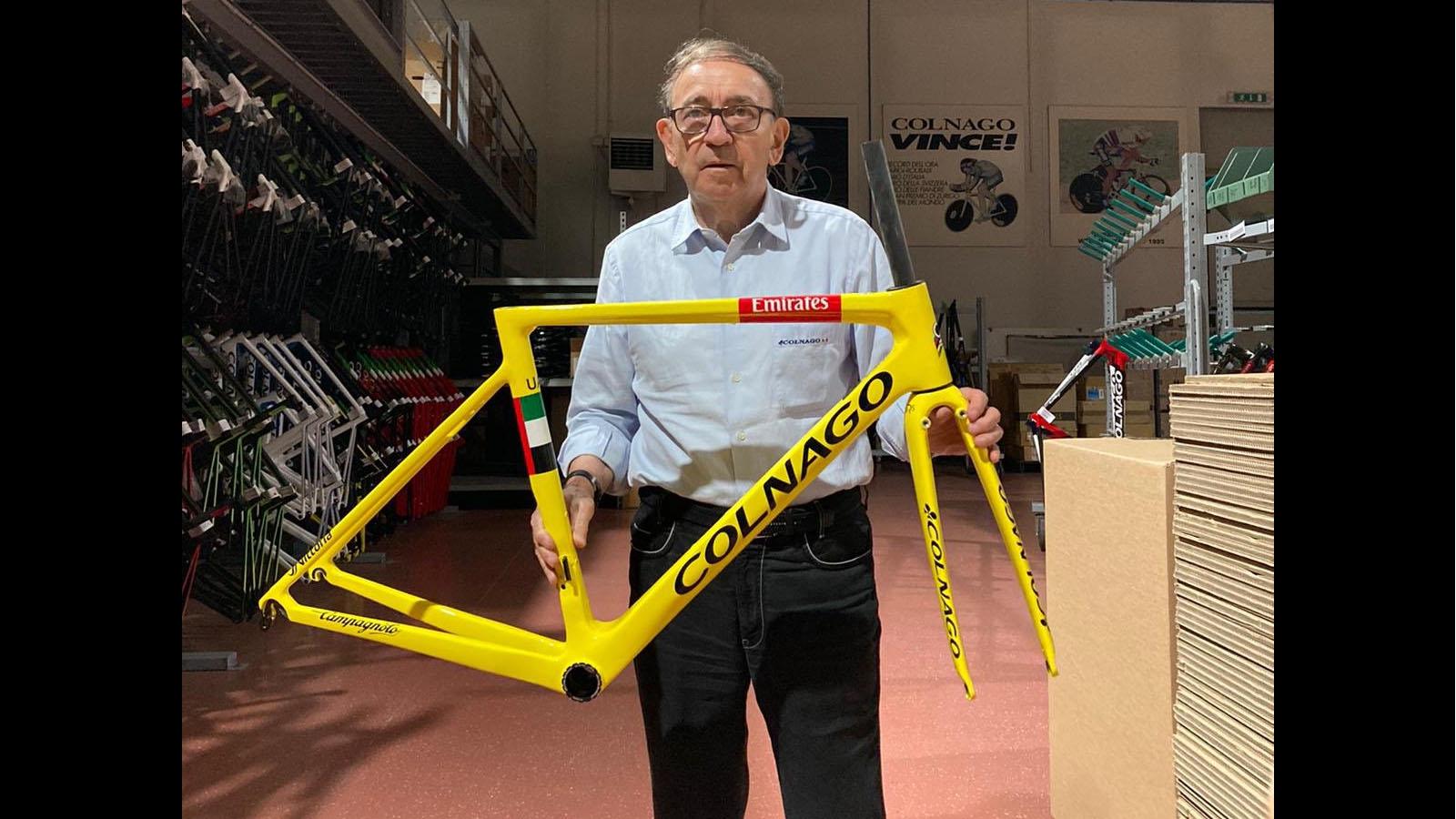 Tadej Pogacar Yellow bike
