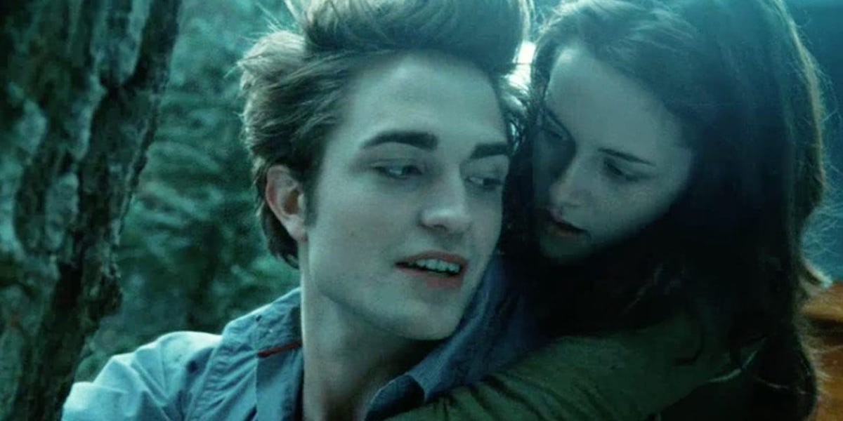Robert Pattinson and Kristen Stewart together during 'hold on spidermonkey' line in Twilight