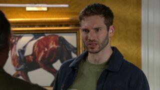 Jamie Tate is horrified in Emmerdale.