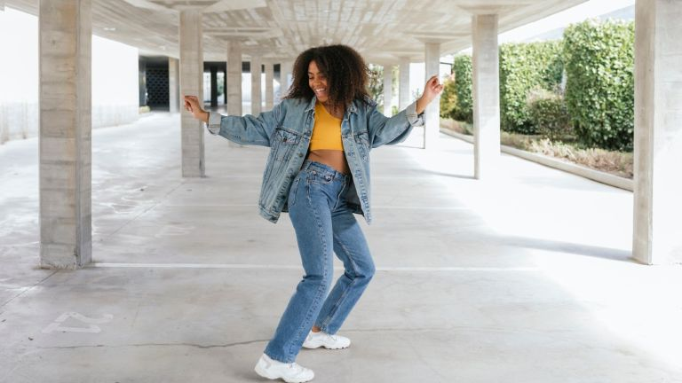 Woman wearing denim jeans and jacket