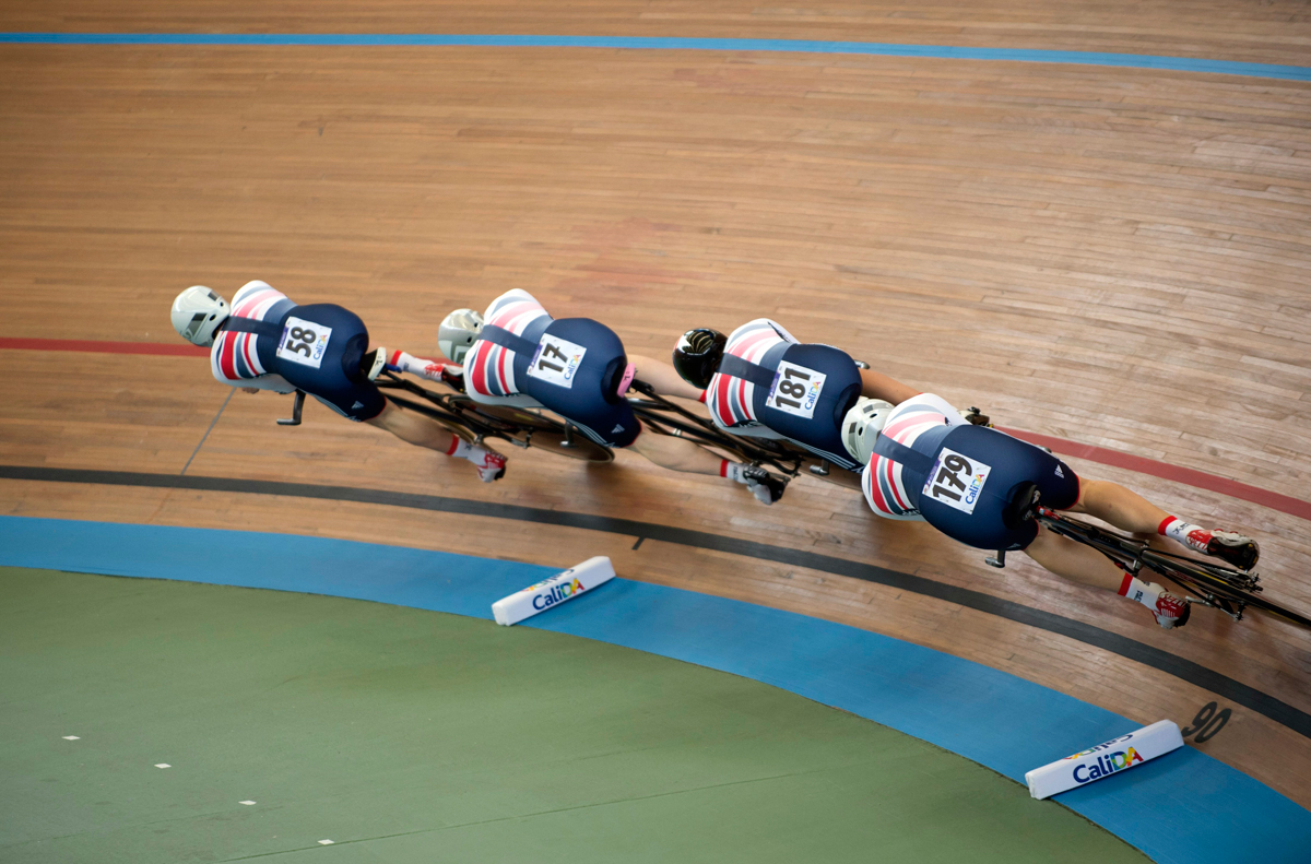 Great Britain, men's team pursuit qualifying, 2014 Track World Championships
