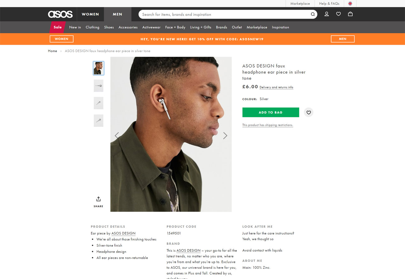 Fake AirPods: ASOS site