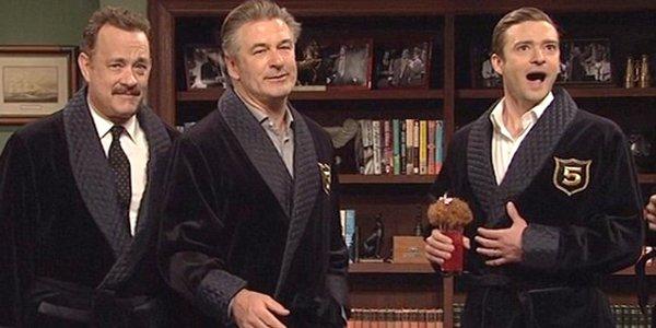 SNL host veterans Tom Hanks, Alec Baldwin, and Justin Timberlake at the Five-Timers Club