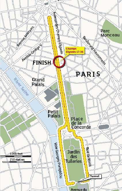 Tour de France 2009, stage 21 map