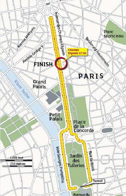 Tour de France 2009, stage 21 map
