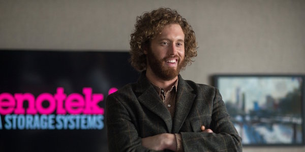TJ Miller arms crossed in Office Christmas Party