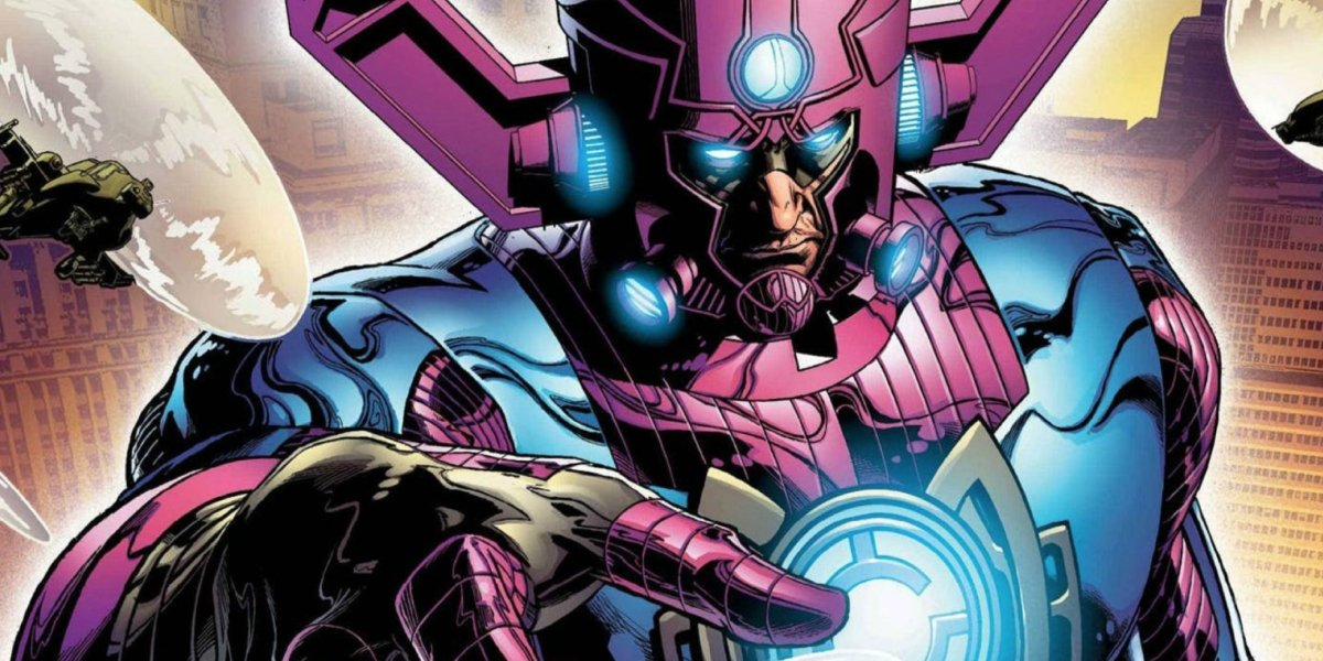A scene from Marvel Comics showing Galactus in his sizable physical form