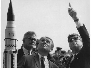 Dr. Wernher von Braun describes saturn launch system jfk
