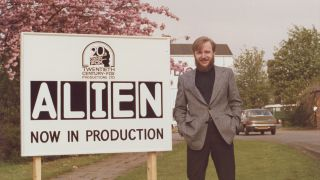 Alien writer Dan O'Bannon outside Shepperton Studios.