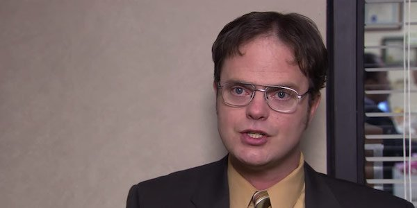 Dwight giving a confessional on The Office