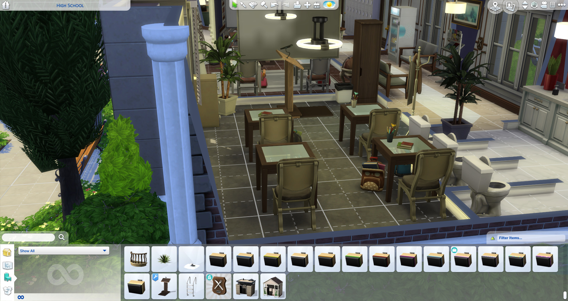The Sims 4 building screen showing a range of school items