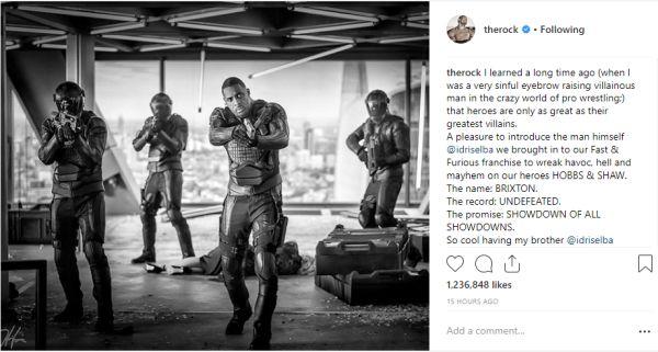 The Rock's Instagram showing Idris Elba, with henchmen, aiming guns toward the camera