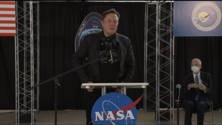 SpaceX founder Elon Musk spoke at the welcoming ceremony for Demo-2 astronauts Doug Hurley and Bob Behnken held on Aug. 2, 2020.