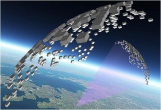 An artist's depiction of what a swarm of chip-sized satellites might look like.