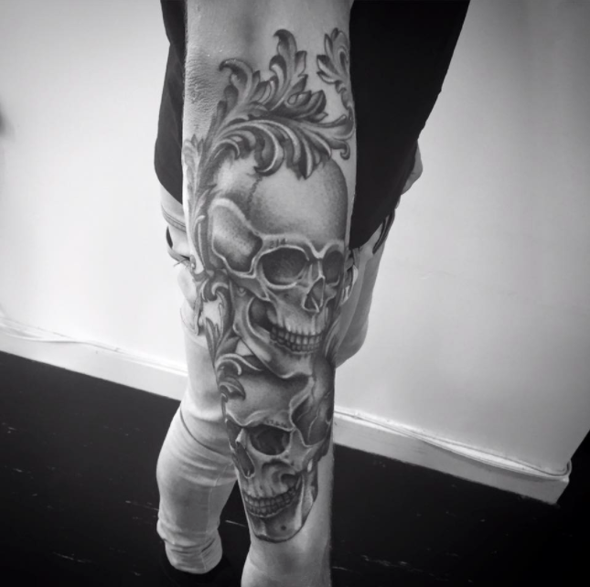Baroque skull tattoo