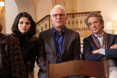 Selena Gomez, Steve Martin, and Martin Short in 'Only Murders in the Building'.