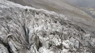 Part of the Planpincieux Glacier in the Mont Blanc massif (shown here) is in danger of collapse.