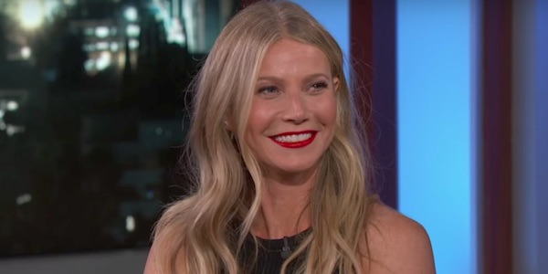 Gwyneth Paltrow on Jimmy Kimmel Live smiling