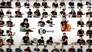 a 50-guitar orchestra plays the Star Wars theme