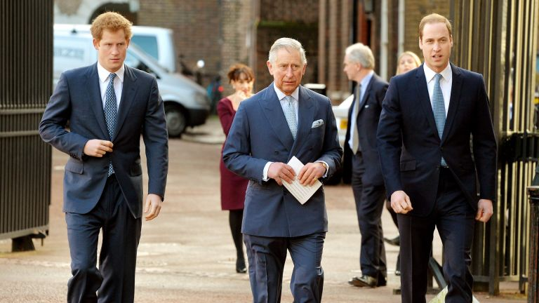 Prince Harry, Prince Charles, Prince of Wales and Prince William, Duke of Cambridge arrive at the Illegal Wildlife Trade Conference at Lancaster House on February 13, 2014