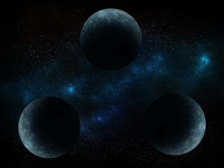 three body problem illustrated by three planets in a triangle in space
