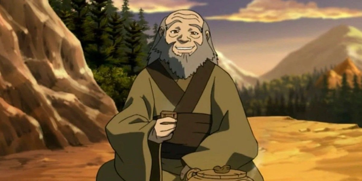 Iroh and his tea in Avatar: The Last Airbender.