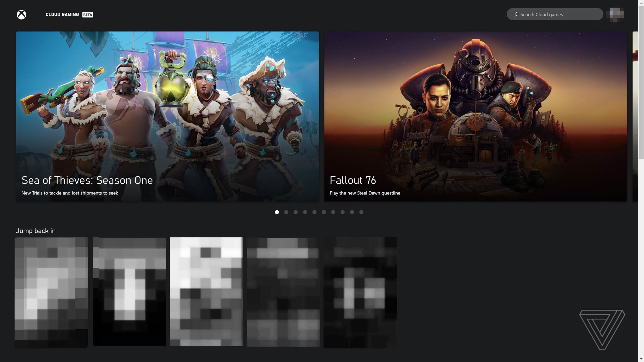Xbox cloud gaming recently played