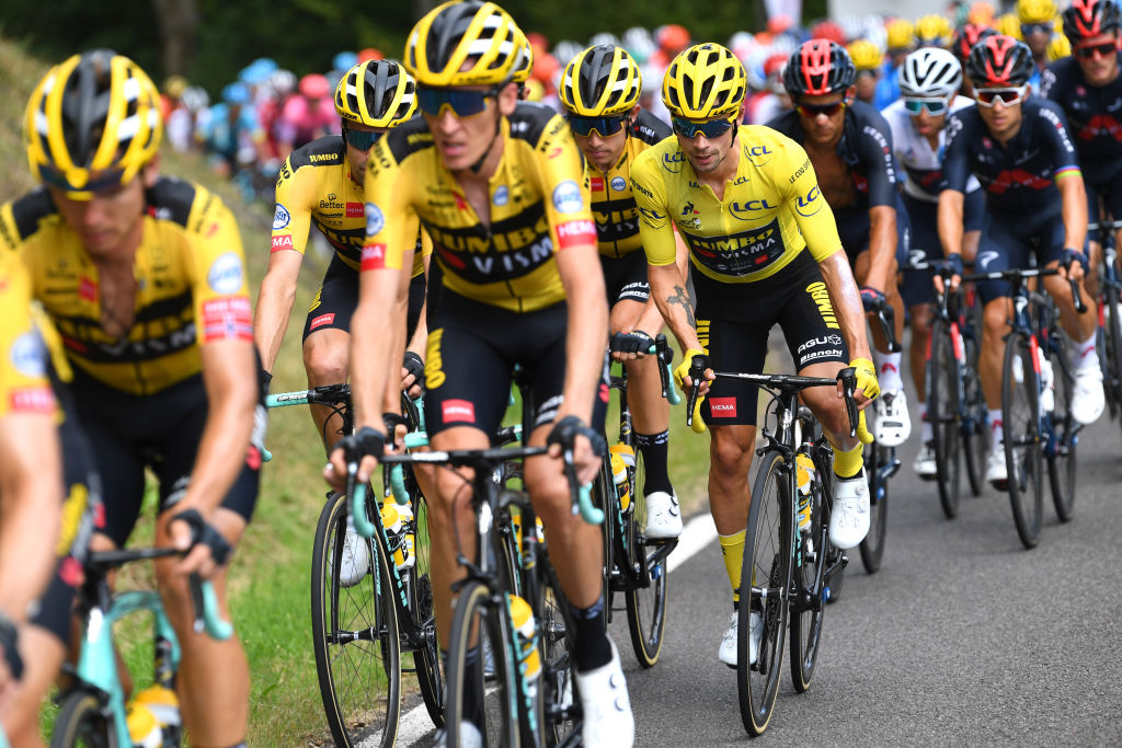 CANTAL FRANCE SEPTEMBER 11 Wout Van Aert of Belgium and Team Jumbo Visma Primoz Roglic of Slovenia and Team Jumbo Visma Yellow Leader Jersey Peloton during the 107th Tour de France 2020 Stage 13 a 1915km stage from ChtelGuyon to Pas de PeyrolLe Puy Mary Cantal 1589m TDF2020 LeTour on September 11 2020 in Cantal France Photo by Tim de WaeleGetty Images