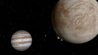 An artist's concept of water plumes erupting from the icy surface of Jupiter's moon Europa.