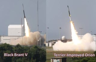 This image from a 2011 rocket launch shows liftoff of a Black Brant V and Terrier-Orion sounding rocket. Similar rockets will be used to launch NASA's Dynamo mission to study Earth's ionosphere in July 2013.