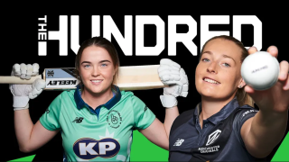 The Hundred live stream 2021: two professional female cricketers pose with bat, gloves and white cricket ball