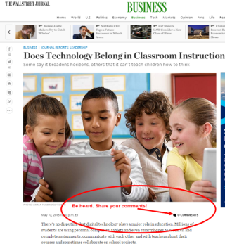 My Wall Street Journal Article Answering: Does Technology Belong in Classroom Instruction?