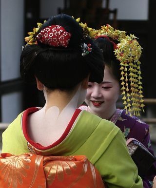 Two young geisha with traditional hairstyles.