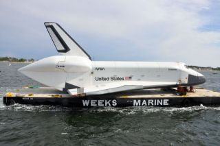 Space Shuttle Enterprise wing damage on barge