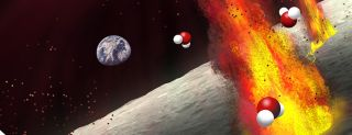 Fire flies off of moon's surface with water molecules indicated around it